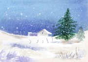 Snow Scenes Digital Art Prints - Snowy Winter Scene Print by Arline Wagner