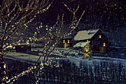 Illuminated Tapestries Textiles - Snowy winter scene of a cabin in distance  by Sandra Cunningham