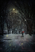 Snowy Winter Scene With Woman Walking At Night Print by Sandra Cunningham