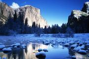 Beautiful Creek Posters - Snowy Yosemite Valley Poster by Michael Howell - Printscapes