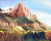 Zion National Park Painting Prints - Snowy Zions Watchman Print by Sherril Porter