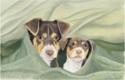 Puppies Pastels Posters - Snuggle Buddies Poster by Barbara Keel