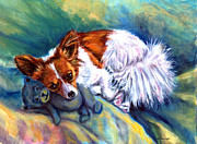 Papillon Dog Paintings - Snuggles - Papillon Dog by Lyn Cook