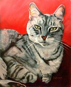 Cat Pastels - Snuggles by Deborah Carroll