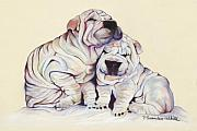 Dog Portrait Pastels - Snuggles  by Pat Saunders-White