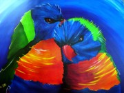Parrot Print Paintings - Snuggling a Rainbow by Una  Miller