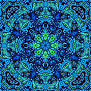 Kaleidoscope Art - So Blue - 04v2 - Mandala by Aimelle