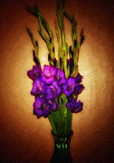 Purple Gladiolas Posters - So Glad Poster by Keren  Candiotti
