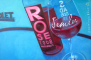 Rose Wine Paintings - So Malibu by Penelope Moore