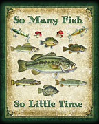 Bass Painting Prints - So Many Fish Sign Print by JQ Licensing