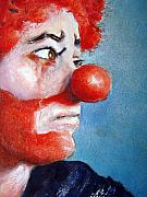 Clown Paintings - So Sad by Myra Evans