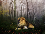 Big Cat Digital Art Acrylic Prints - So the Lion Fell in Love with the Lamb Acrylic Print by Julie L Hoddinott