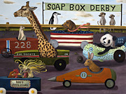 Humor. Paintings - Soap Box Derby by Leah Saulnier The Painting Maniac