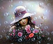 Yoo Choong Yeul - soap bubble  girl - rose...