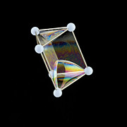 Surface Tension Prints - Soap Bubbles On A Triangular Prism Frame Print by Paul Rapson