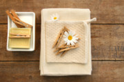 Towels Prints - Soap clothespins and towels  Print by Sandra Cunningham