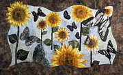Fabric Quilts Tapestries - Textiles Posters - Soaring Butterflies Poster by Patty Caldwell