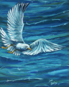 Flying Seagull Painting Framed Prints - Soaring Framed Print by Debra Bailey