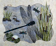 Fiber Art Posters - Soaring Dragonflies Poster by Patty Caldwell