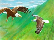 Eagle Paintings - Soaring High by Amatzia Baruchi