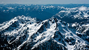 Olympic Mountains Framed Prints - Soaring Over the Olympics Framed Print by Mike Reid