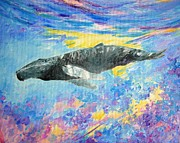 Kauai Artist Paintings - Soaring whale by Tamara Tavernier