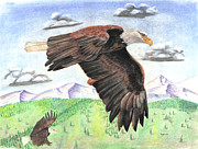 Bald Eagle Pastels Metal Prints - Soaring With Eagles Metal Print by Russ  Smith