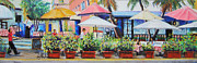 Street Scene Pastels - SoBe Cafe by Leah Wiedemer