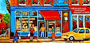 Montreal Neighborhoods Paintings - Soccer At The Bagel Shop Lane  Montreal Summer Scene by Carole Spandau