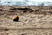 Malibu Beach Prints - Soccer Ball at Zuma Print by John Rizzuto
