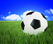 Soccer Art - Soccer Ball On Green Grass by Gualtiero Boffi