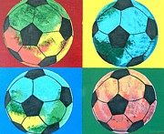 Soccer Painting Framed Prints - Soccer Balls Framed Print by Ken Pursley