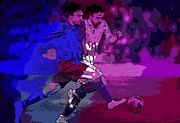 Sports Digital Art Metal Prints - Soccer Battle Metal Print by George Pedro