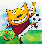 Cartoonist Painting Framed Prints - Soccer Cat 2 Framed Print by Scott Nelson