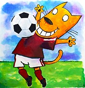 Hockey Player Paintings - Soccer Cat 3 by Scott Nelson