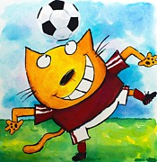 Cartoonist Painting Framed Prints - Soccer Cat 4 Framed Print by Scott Nelson