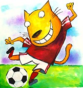 Scott Nelson And Son Painting Posters - Soccer Cat Poster by Scott Nelson