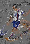 Player Mixed Media Metal Prints - Soccer Metal Print by Danielle Kasony