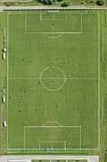 Soccer Field Framed Prints - Soccer Filed, Aerial View Framed Print by Bernhard Lang