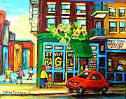 Montreal Landmarks Paintings - Soccer Game At The Bagel Shop by Carole Spandau