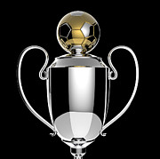 Award Digital Art Metal Prints - Soccer Golden award trophy. Metal Print by Kittisak Taramas