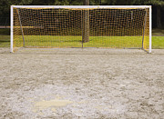 Puddle Prints - Soccer Net on Dirt Field Print by Andersen Ross
