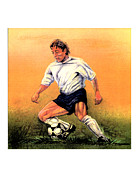 Player Drawings Posters - Soccer Stamp Poster by Paul Abrahamsen