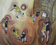 Soccer Paintings - Soccer by Suzanne  Marie Leclair