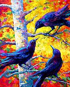 Crows Painting Posters - Social Cub I Poster by Marion Rose