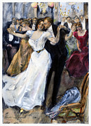Ball Gown Metal Prints - SOCIETY BALL, c1900 Metal Print by Granger