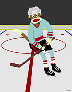 Ice Hockey Digital Art - Sock Monkey Hockey Player by Kelly Pound