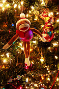 Holiday Greetings Posters - Sock Monkey is in the season Poster by Toni Hopper
