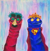 Puppet Paintings - Sock Puppets Under Cover by Robin Wiesneth