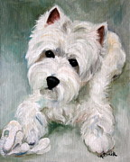 Westie Puppies Posters - Socks Poster by Mary Sparrow Smith